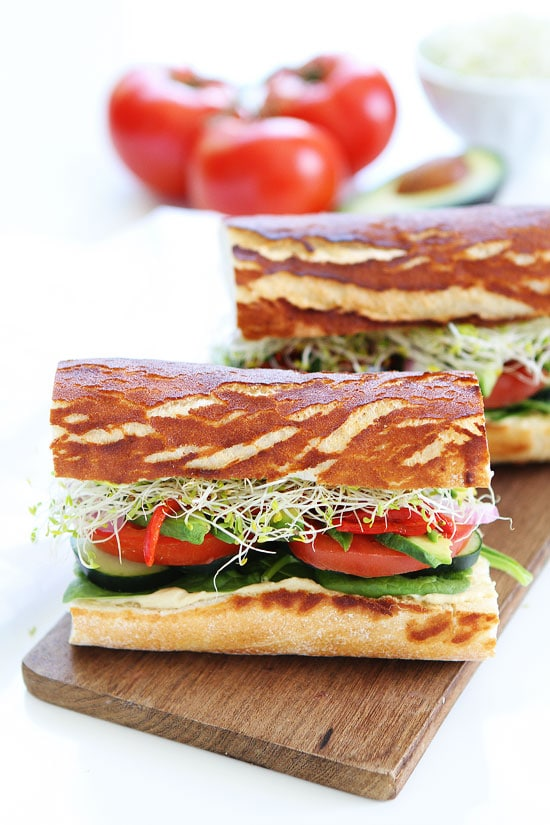 Ultimate Veggie Sandwich Recipe on twopeasandtheirpod.com This veggie ...