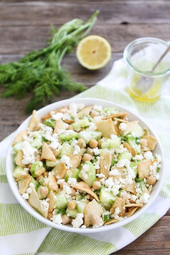 Cucumber, Chickpea, and Pita Salad Recipe on twopeasandtheirpod.com ...