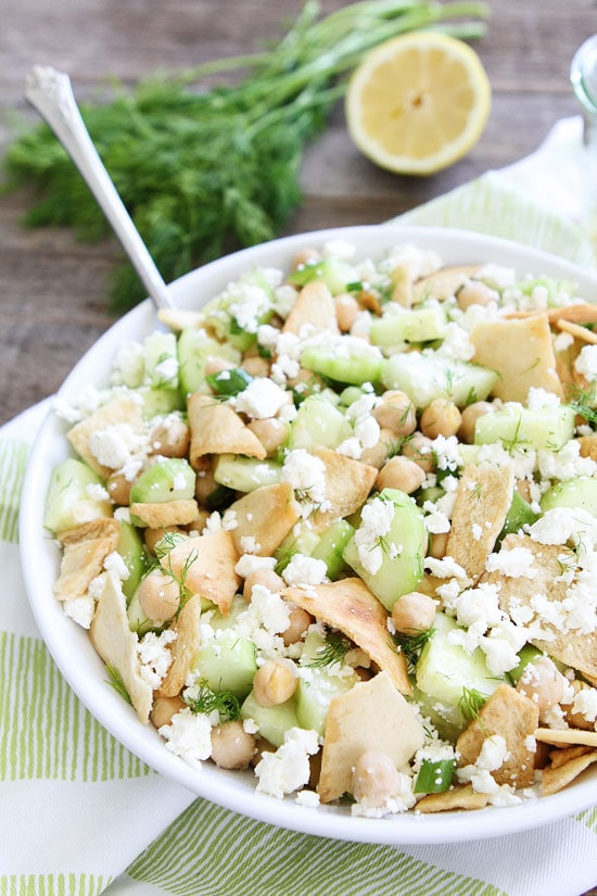 You can serve this Cucumber, Chickpea, and Pita Salad as a side dish ...