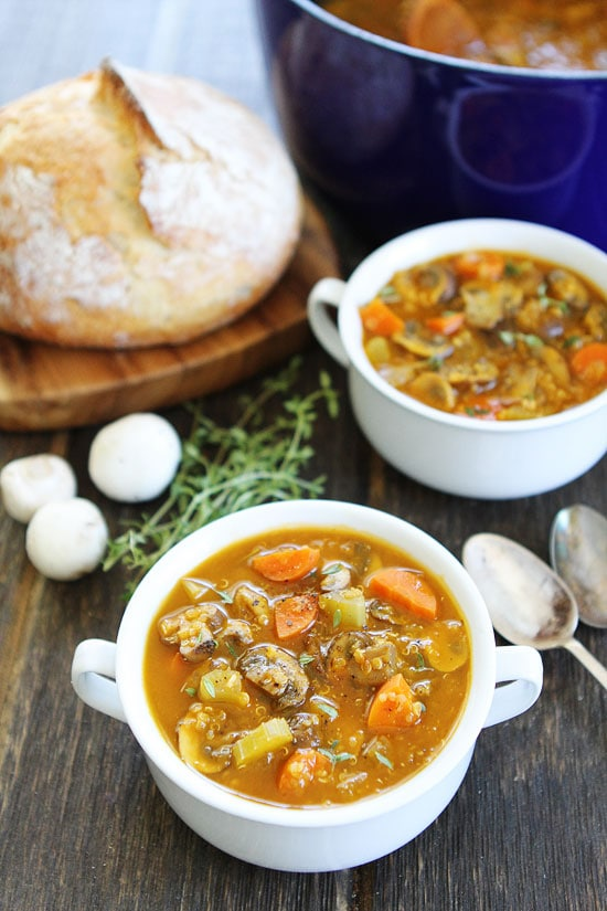 Mushroom Quinoa Soup-this healthy and hearty soup is the perfect meal ...