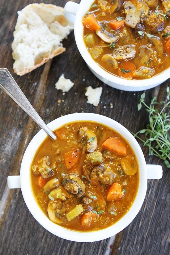 Mushroom Quinoa Soup Recipe on twopeasandtheirpod.com This delicious ...