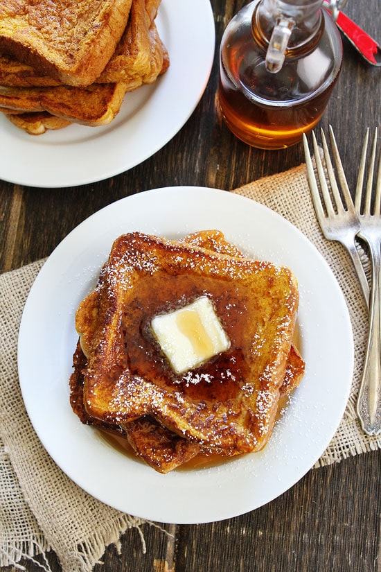 Pumpkin French Toast Recipe on twopeasandtheirpod.com Thick slices of ...