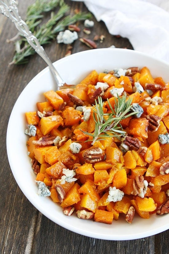 Roasted Butternut Squash with Balsamic, Blue Cheese, and Pecans Recipe ...