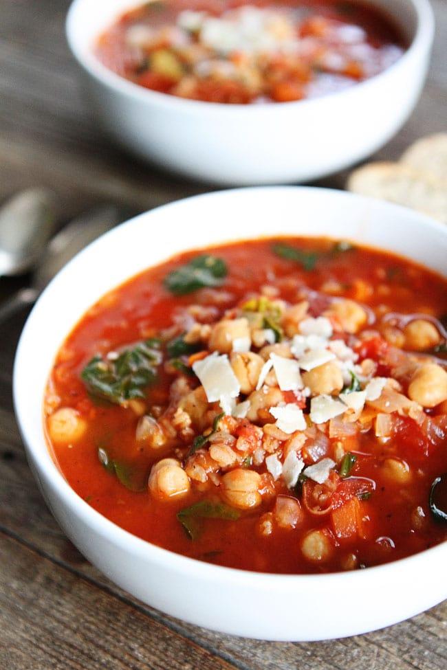 Chickpea Farro Soup Recipe on twopeasandtheirpod.com T