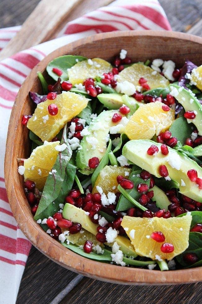 Pomegranate, Orange, and Avocado Salad-mixed greens with pomegranate ...