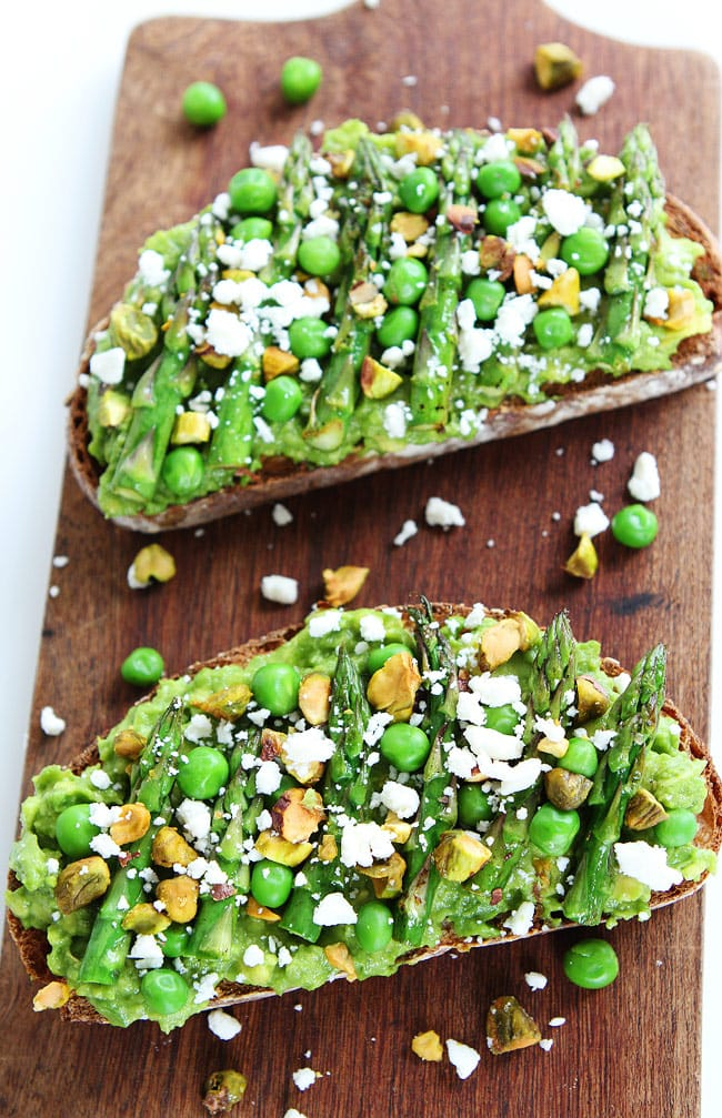 Avocado Toast with Asparagus, Peas, Pistachios, and Feta Cheese