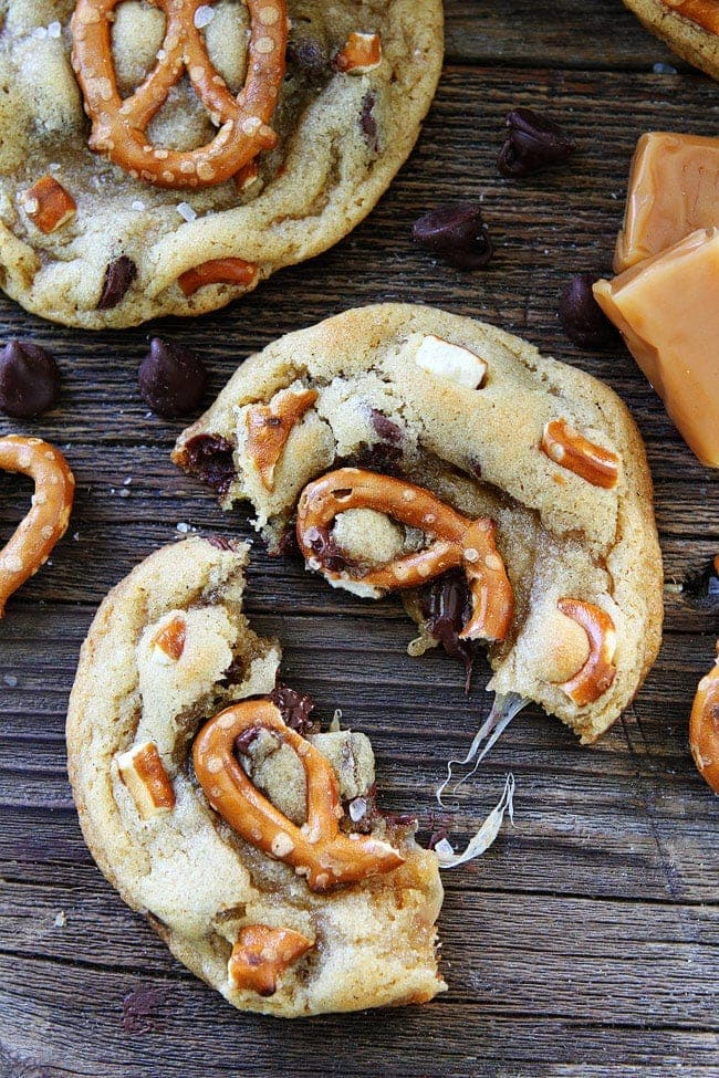 Salted Caramel Pretzel Chocolate Chip Cookies Recipe