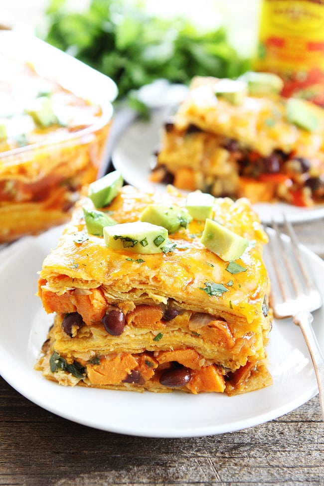 Stacked Sweet Potato and Black Bean Enchiladas Recipe