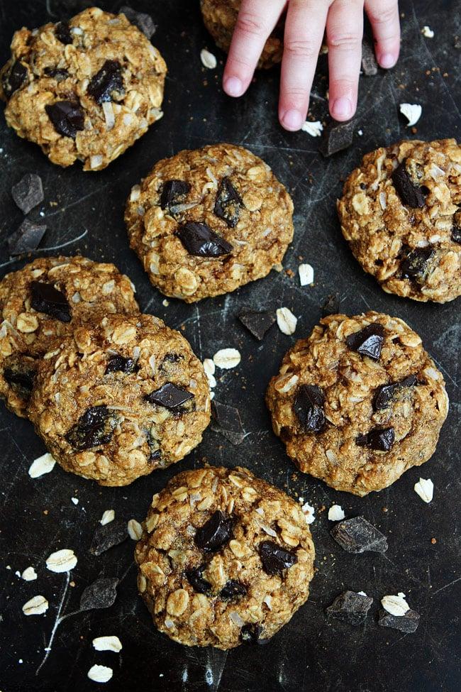 Whole Wheat Banana Coconut Oatmeal Chocolate Chunk Cookies Recipe