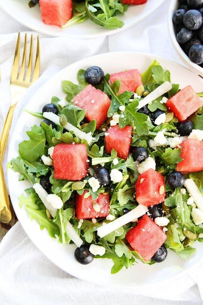 Watermelon, Blueberry, and Jicama Arugula Salad