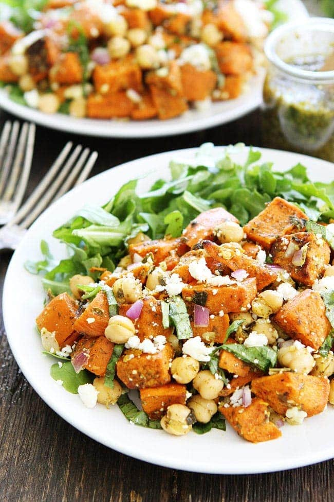 Salad with Pesto-this simple salad is made with roasted sweet potatoes ...