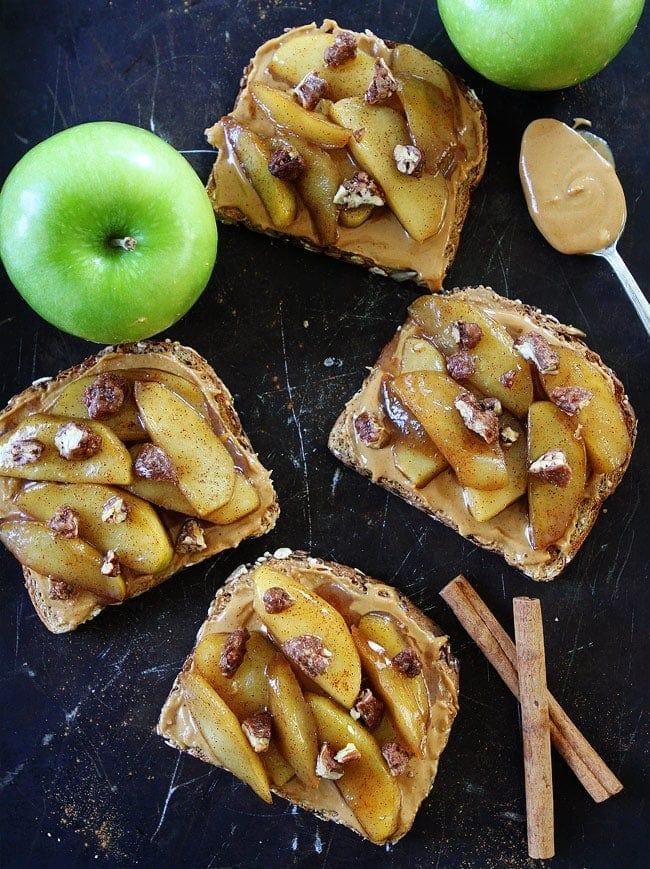 Peanut Butter Toast with Skillet Cinnamon Apples