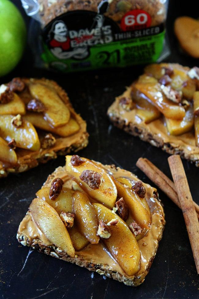 Peanut Butter Toast with Skillet Cinnamon Apples Recipe