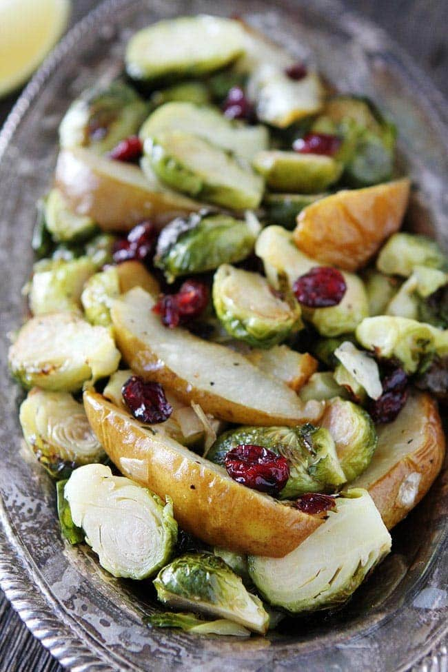 Roasted Pear and Cranberry Brussels Sprouts Recipe