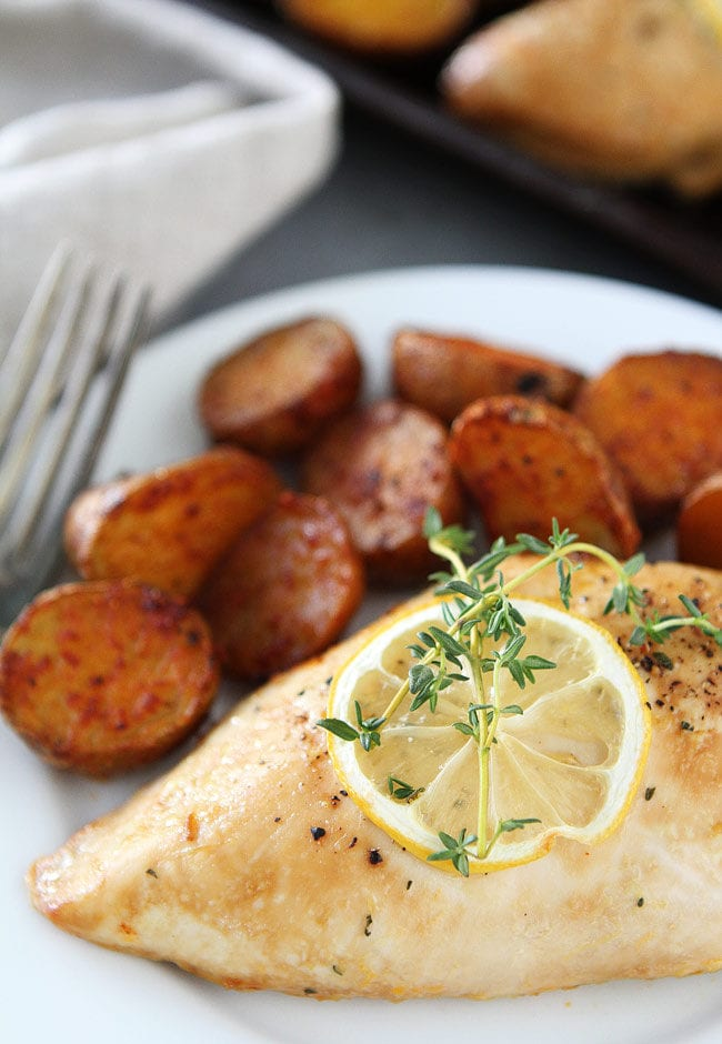 Sheet Pan Lemon Thyme Chicken with Smoked Paprika Potatoes Recipe