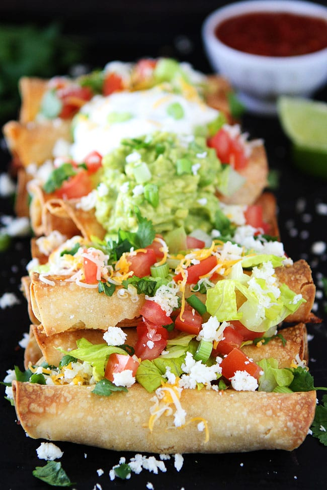 Baked Chicken Taquitos with toppings