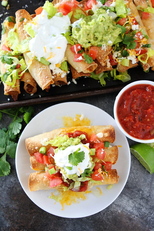 Baked Chicken Taquitos on plate