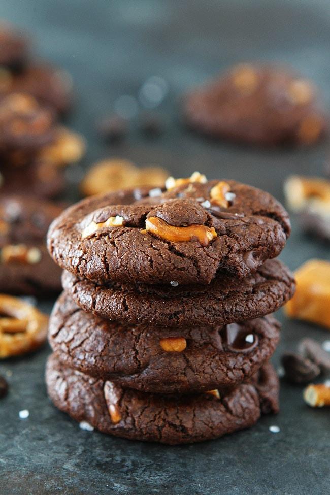 Chocolate Salted Caramel Pretzel Cookies Recipe