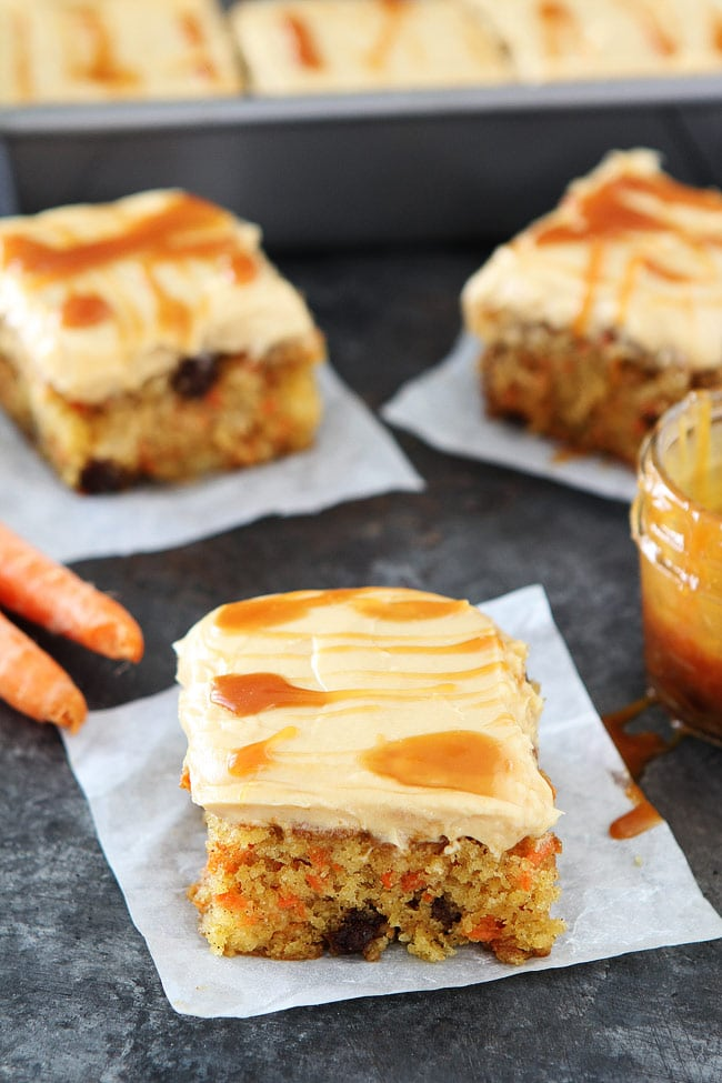 Easy Carrot Cake with Caramel Cream Cheese Frosting