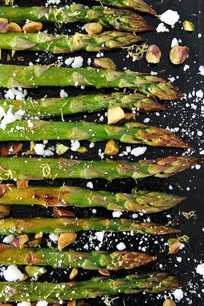Roasted Asparagus with Lemon, Feta, and Pistachios Recipe