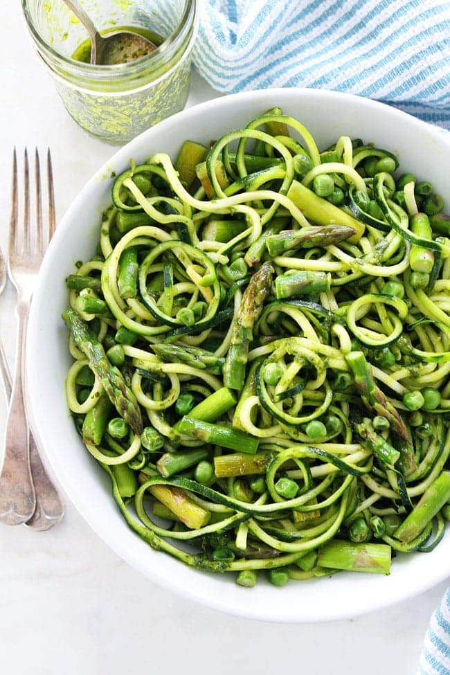 Zucchini Noodles with Asparagus, Peas, and Basil Vinaigrette