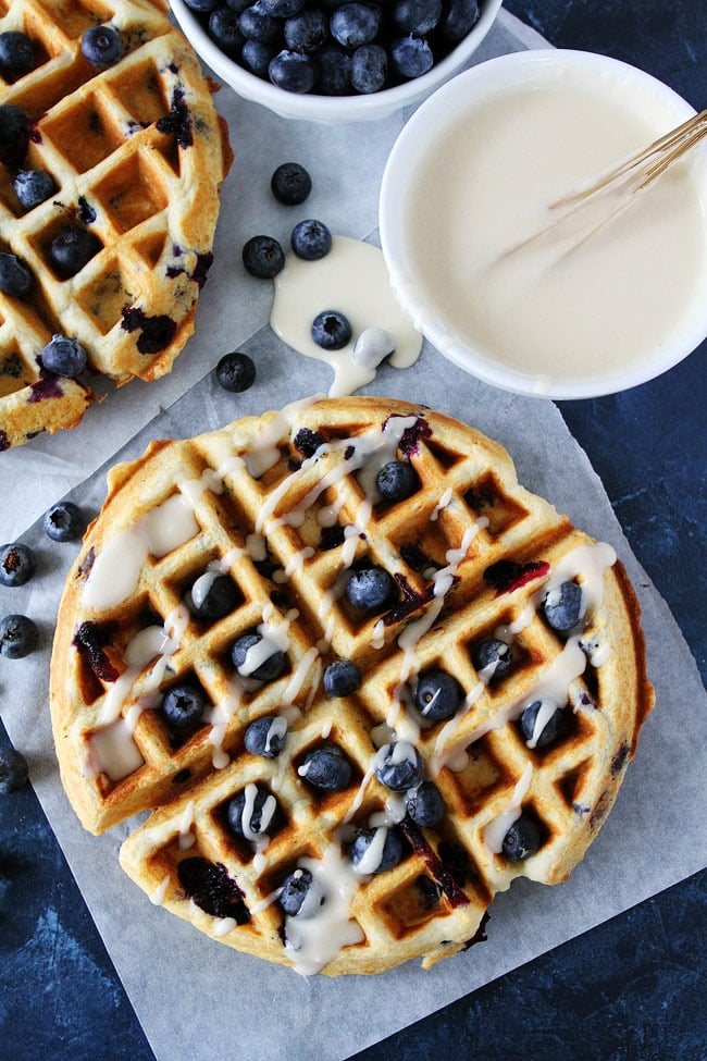 Blueberry Sour Cream Waffles with maple glaze
